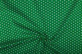 Boerenbont stoffen - NB 1266-025 Katoen kleine sterretjes groen