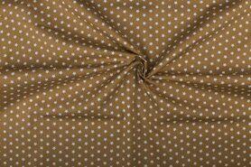 Boerenbont stoffen - NB 1266-053 Katoen kleine sterretjes beige