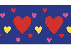 Paars - NB 10669-015 Boord/manchet cuff jacquard hearts paars-blauw