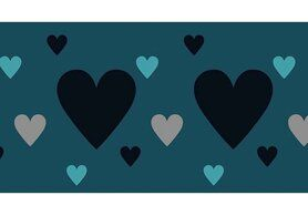 Boorden / Manchetten - NB 10669-024 Boord/manchet cuff jacquard hearts petrol