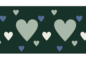 Bündchen / Manchetten - NB 10669-025 Boord/manchet cuff jacquard hearts groen