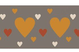 Beige - NB 10669-056 Boord/manchet cuff jacquard hearts beige/terra
