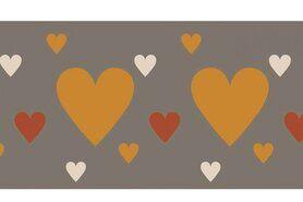 Bündchen / Manchetten - NB 10669-056 Boord/manchet cuff jacquard hearts beige/terra