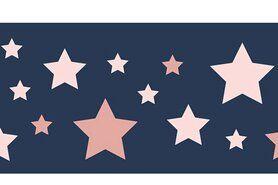 Boorden / Manchetten - NB 10671-014 Boord/manchet cuff jacquard stars blauw/roze