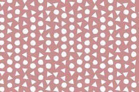 Katoenen stoffen - NB 11104-014 Katoen bedrukt met stippen en driehoeken oudroze