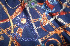 Sjaal - KN19 15577-600 Bedrukt satijn riem donkerblauw/multi