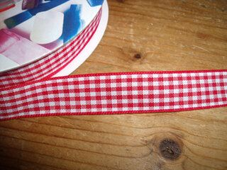 Sierband geruit (15 mm) rood/wit*