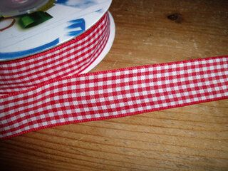 Sierband geruit (20 mm) rood/wit*