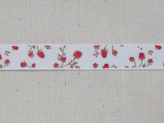 Ripslint bloemetjes off white rood/bruin 16 mm (22383/16-722)*
