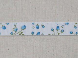 Ripslint bloemetjes off white blauw/groen 16 mm (22383/16-259)*