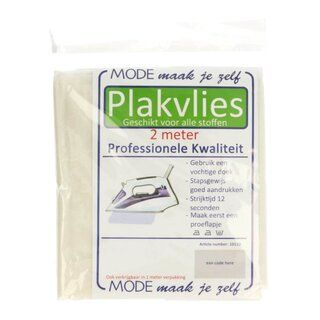 Plakvlies wit (per 2 meter verpakt)*